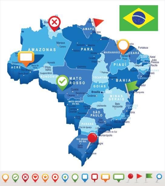 ilustrações, clipart, desenhos animados e ícones de ilustração de - mapa e bandeira – brasil - manaus