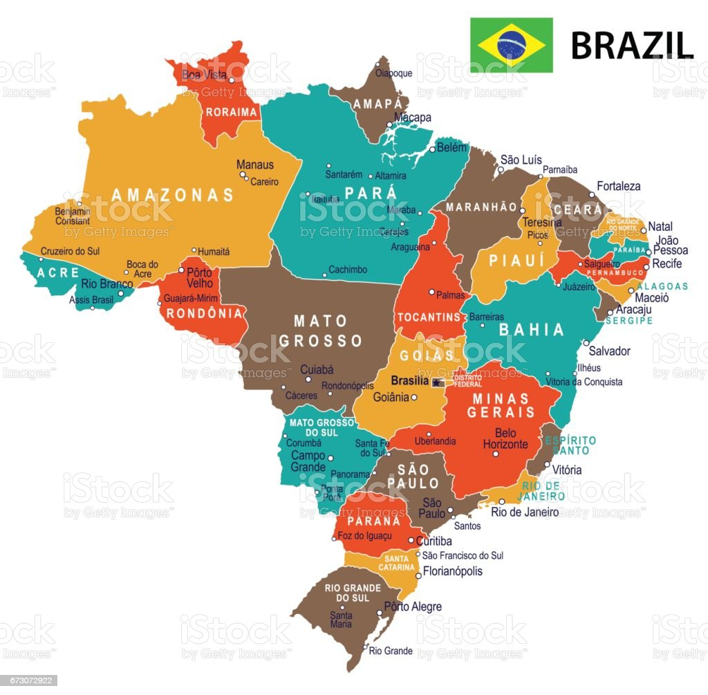 Brazil map and flag illustration stock vector art more images of brazil map and flag illustration royalty free brazil map and flag gumiabroncs Images