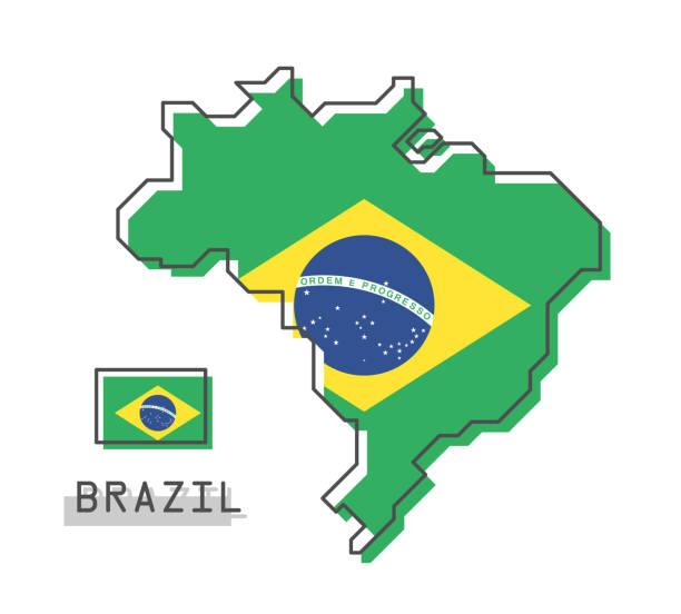 ilustrações, clipart, desenhos animados e ícones de mapa do brasil e a bandeira. projeto de banda desenhada moderna linha simples. vector. - brazil