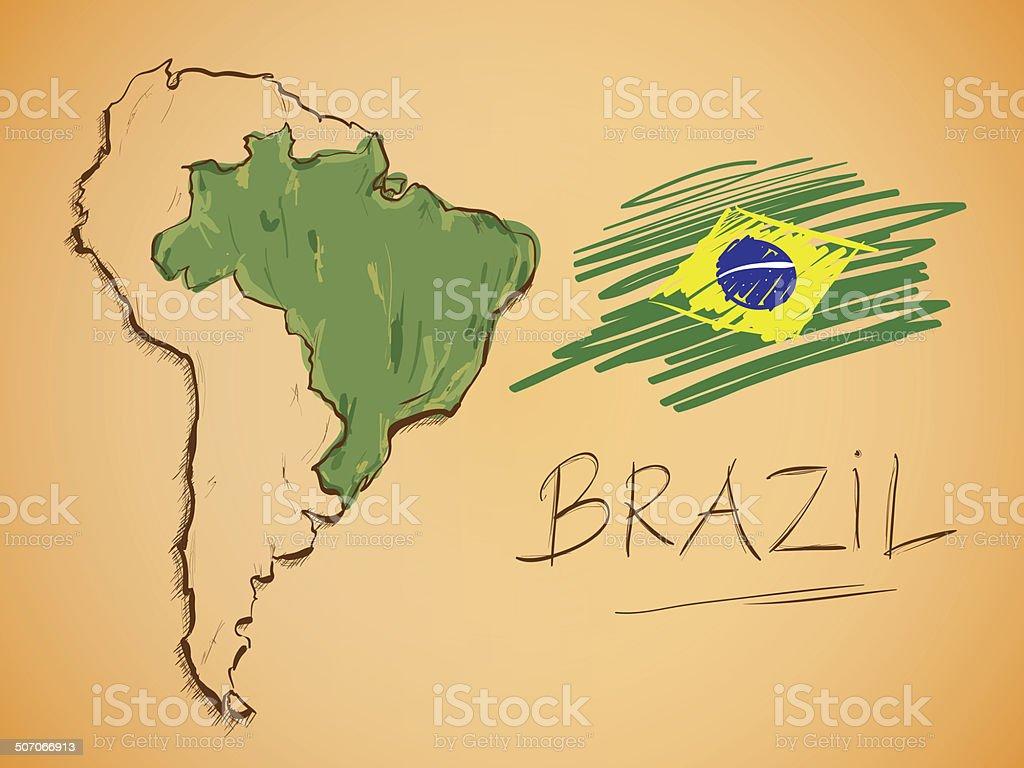Brazil Map and National Flag Vector vector art illustration