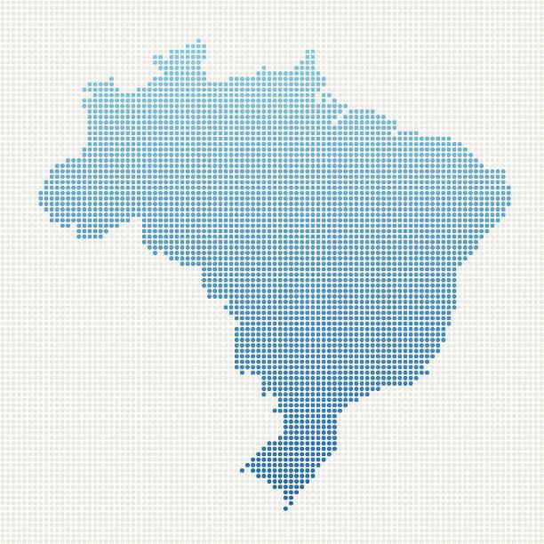 Brazil Map Blue Dot Pattern vector art illustration