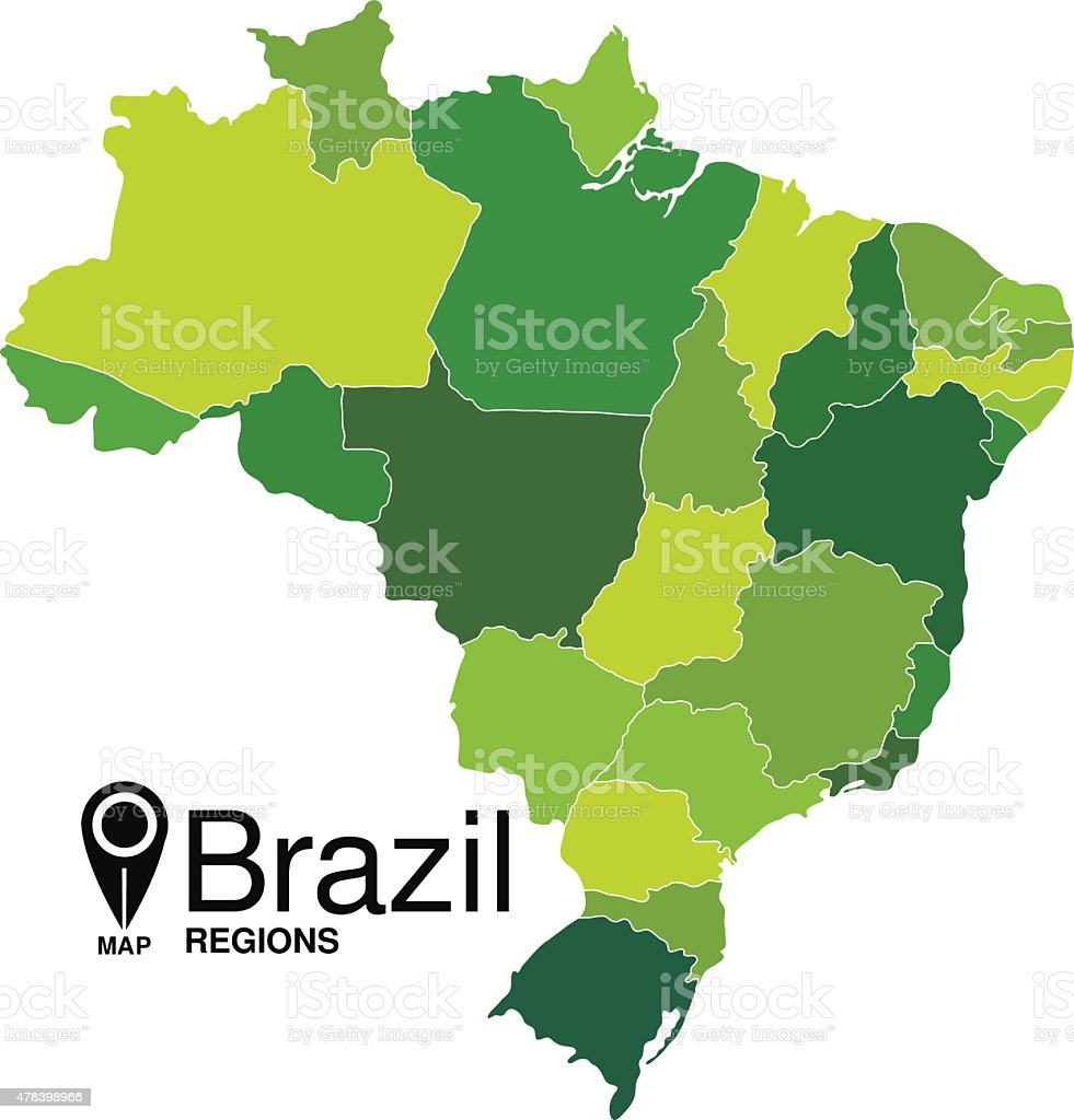 Brazil Map. Brasilien karte vector art illustration