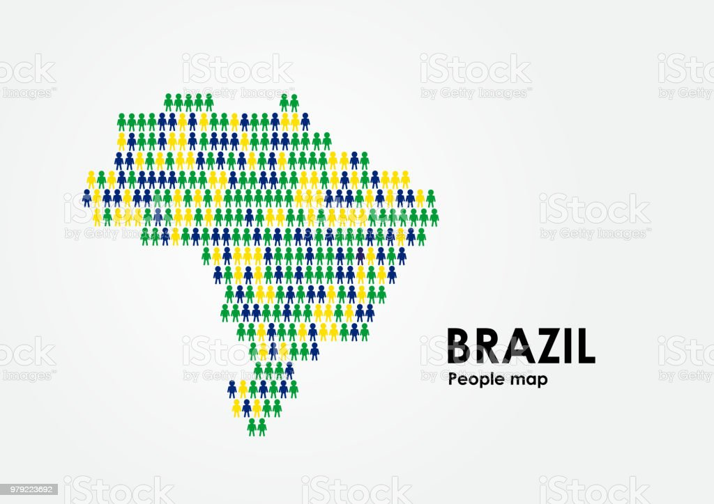 Brazil Map Design By People With Brazil Flag Colors Stock
