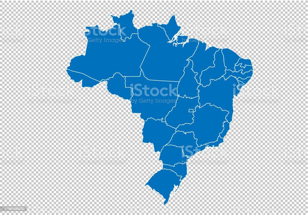 Brazil Map Hohe Detaillierte Blaue Karte Mit ...