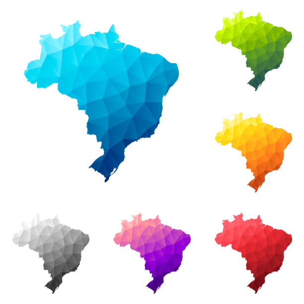 Brazil map in Low Poly style - Colorful polygonal geometric design vector art illustration