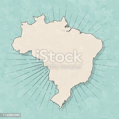 Map of Brazil in a trendy vintage style. Beautiful retro illustration with old textured paper and light rays in the background (colors used: blue, green, beige and black for the outline). Vector Illustration (EPS10, well layered and grouped). Easy to edit, manipulate, resize or colorize.