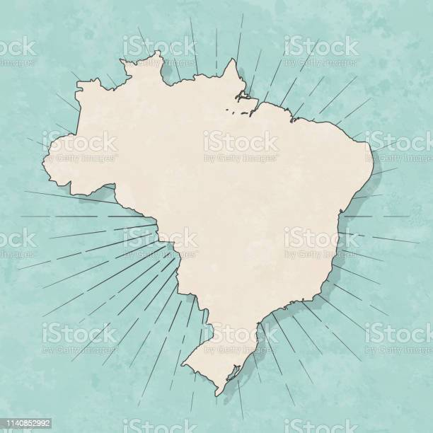 Vetores de Mapa De Brasil No Estilo Retro Do Vintagepapel Textured Velho e mais imagens de Abstrato
