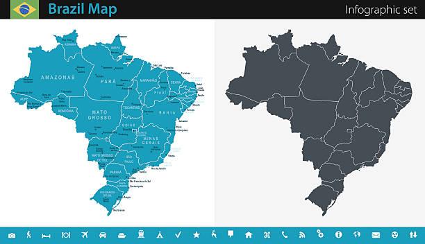 ilustrações, clipart, desenhos animados e ícones de brazil map - infographic set - brazil map