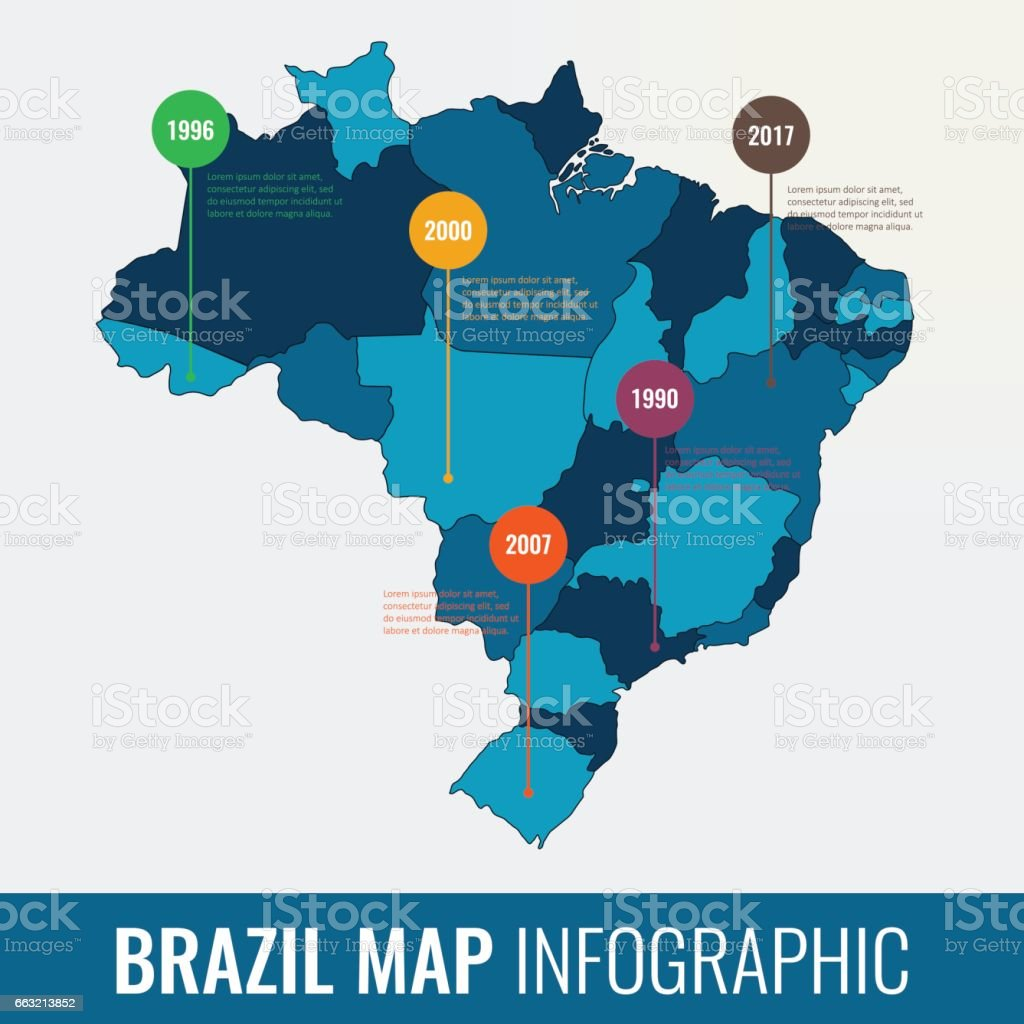 Brazil map infographic template. All regions are selectable. Vector vector art illustration