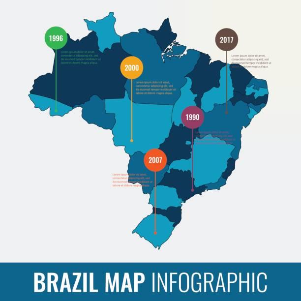 ilustrações, clipart, desenhos animados e ícones de modelo de infográfico mapa brasil. todas as regiões são selecionáveis. vector - brazil map