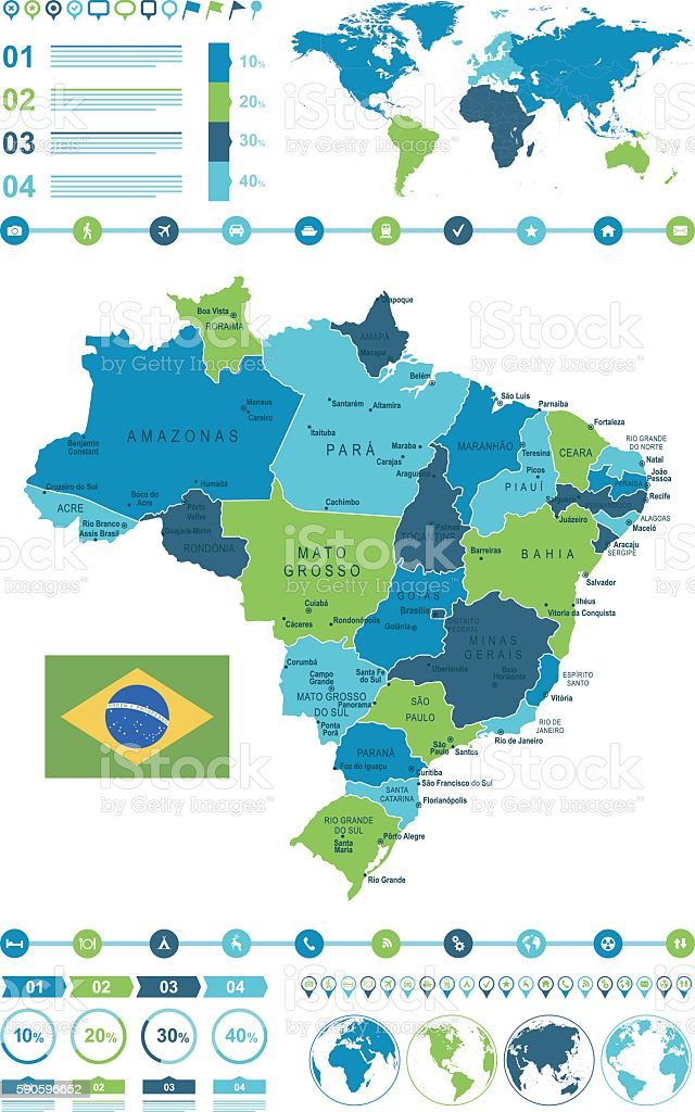 Brazil Map Infographic Stock Vector Art More Images of Belm
