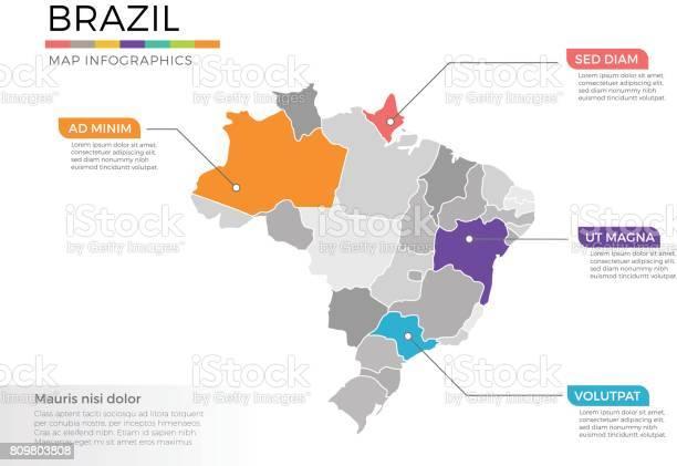 Vetores de Modelo De Vetor De Infográficos Brasil Mapa Com Regiões E Marcas De Ponteiro e mais imagens de Abstrato