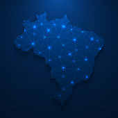 istock Brazil map network - Bright mesh on dark blue background 1235130813