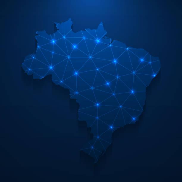 Brazil map network - Bright mesh on dark blue background vector art illustration