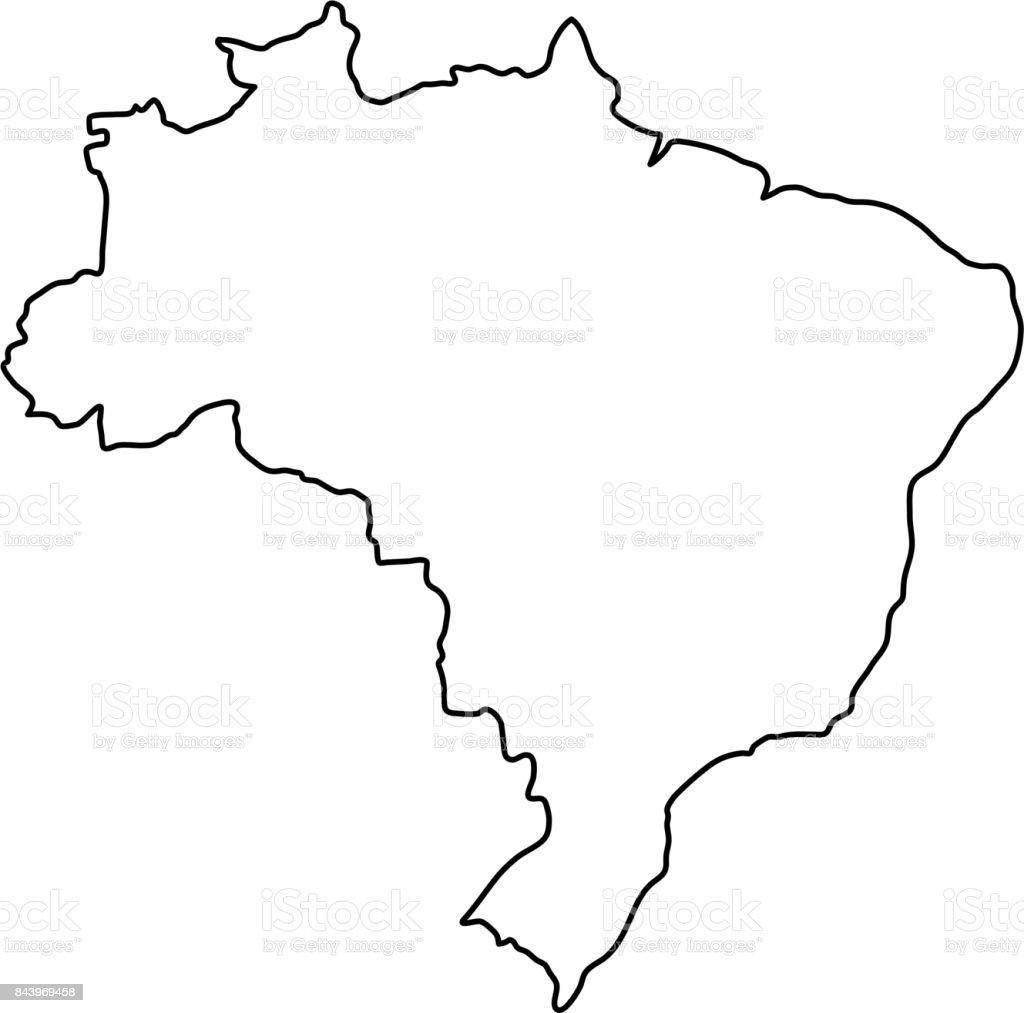 Brazil map of black contour curves of vector illustration