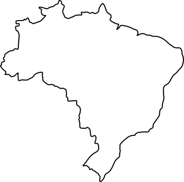 ilustrações, clipart, desenhos animados e ícones de mapa do brasil de curvas de contorno pretos de ilustração vetorial - brazil