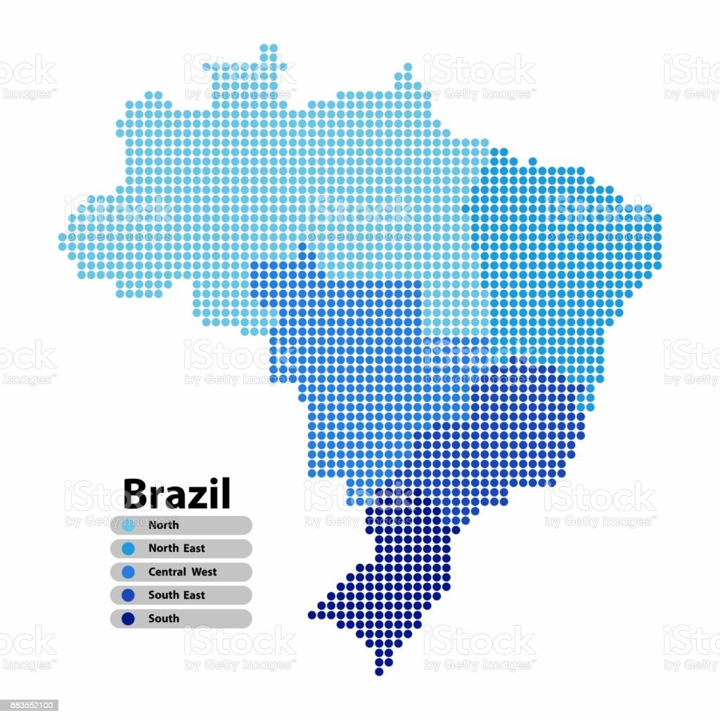 Brazil Map of circle shape with the regions blue color in bright colors on white background. Vector illustration dotted style. vector art illustration