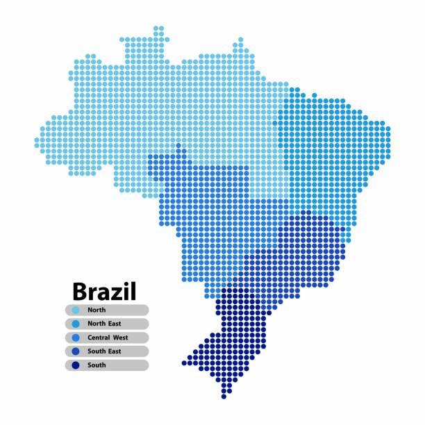 ilustrações, clipart, desenhos animados e ícones de mapa do brasil de forma de círculo, com as regiões azul cor em cores brilhantes sobre fundo branco. ilustração em vetor estilo pontilhada. - brazil