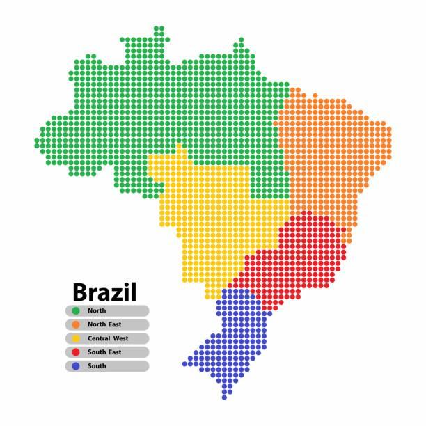 brasilien-karte von kreisform mit den regionen bunt, in leuchtenden farben auf weißem hintergrund. vektor-illustration stil punktiert. - ostsee stock-grafiken, -clipart, -cartoons und -symbole