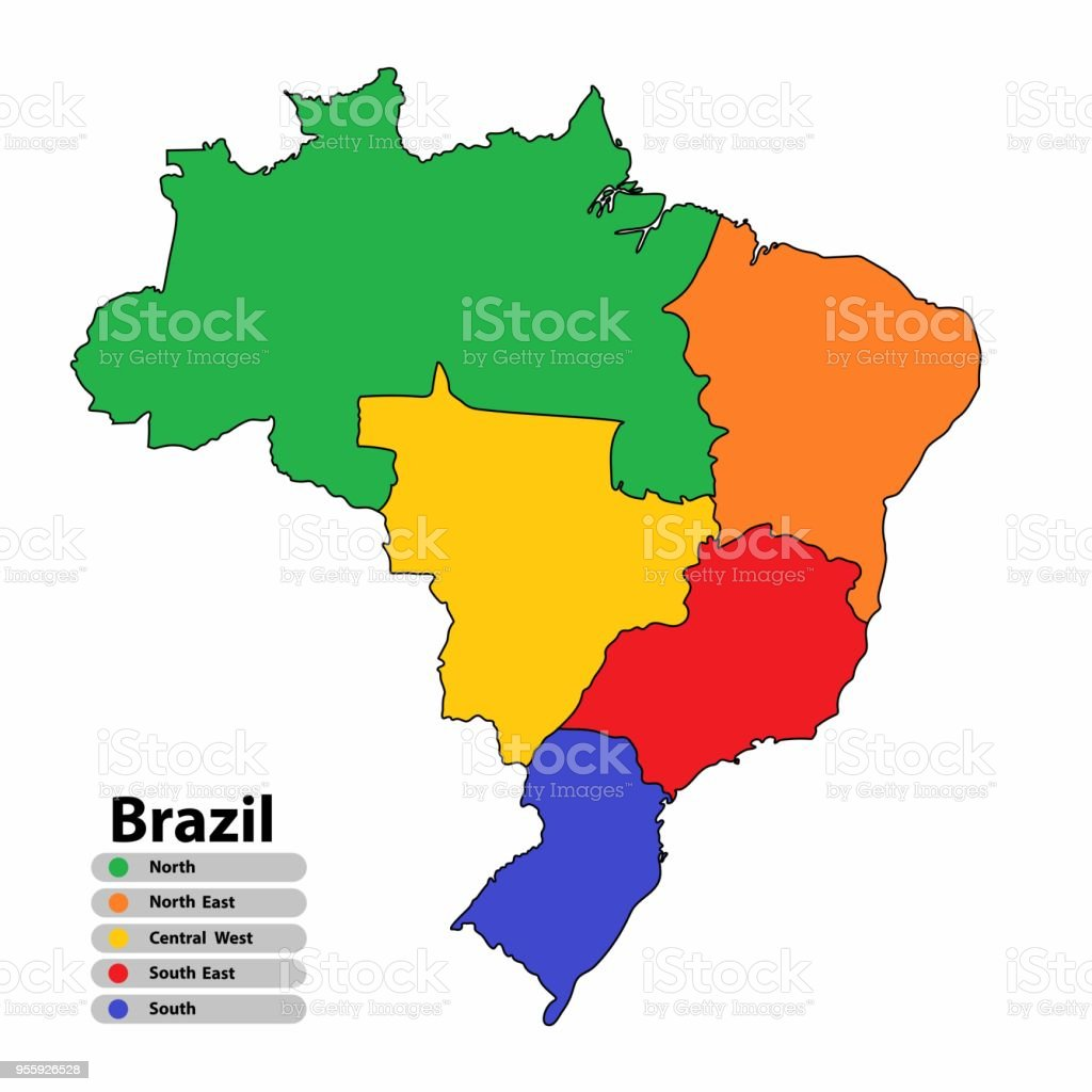 Brazil Map Of Multicolor With Countries And Capital Cities ...