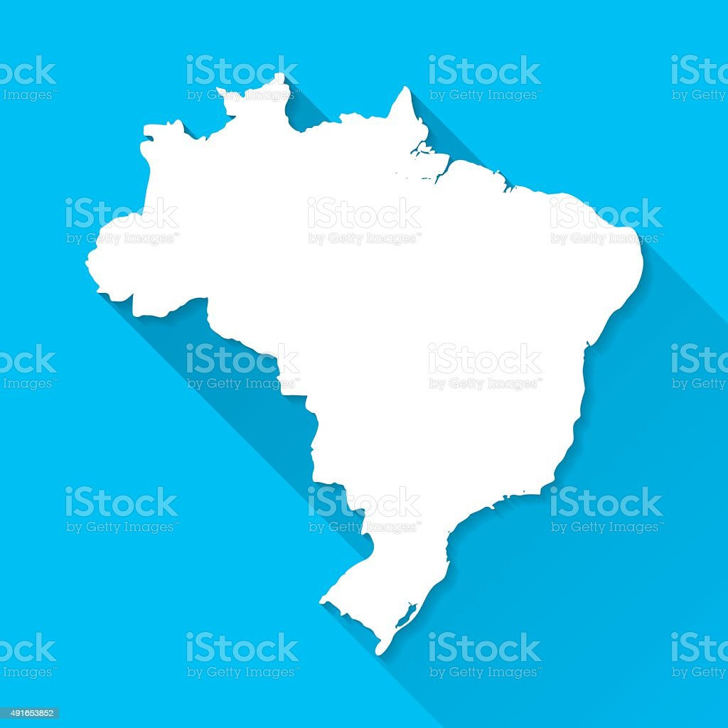 Brazil Map on Blue Background, Long Shadow, Flat Design vector art illustration