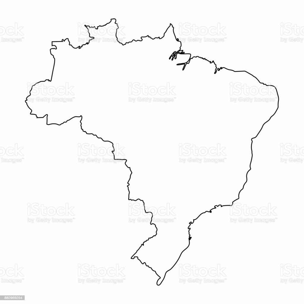 Vetores De Brasil Mapa Contorno Grafico Desenho A Mao Livre Sobre