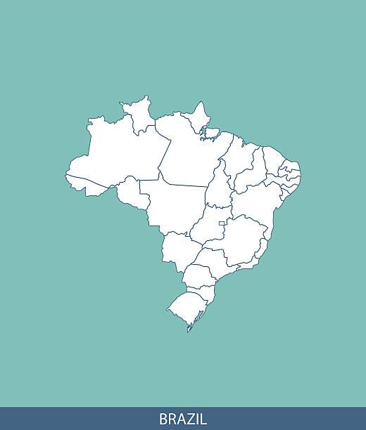 Brasil mapa resumo de vetor com membros das fronteiras em Fundo azul - ilustração de arte em vetor