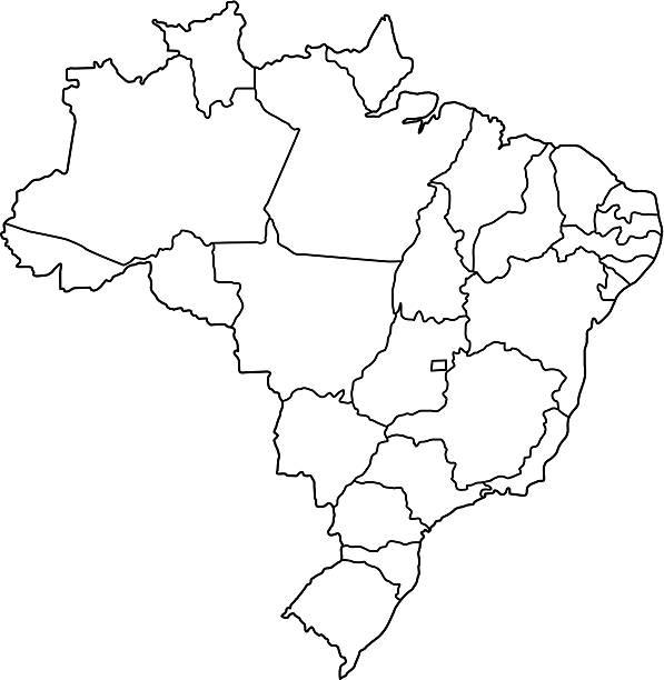 ilustrações, clipart, desenhos animados e ícones de brasil mapa resumo fundo branco - brazil map