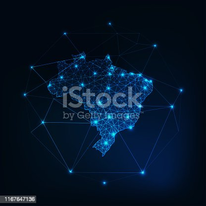 istock Brazil map outline with stars and lines abstract framework. 1167647136