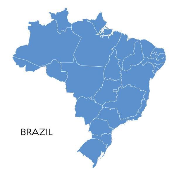 brasilien-karte - südeuropa stock-grafiken, -clipart, -cartoons und -symbole