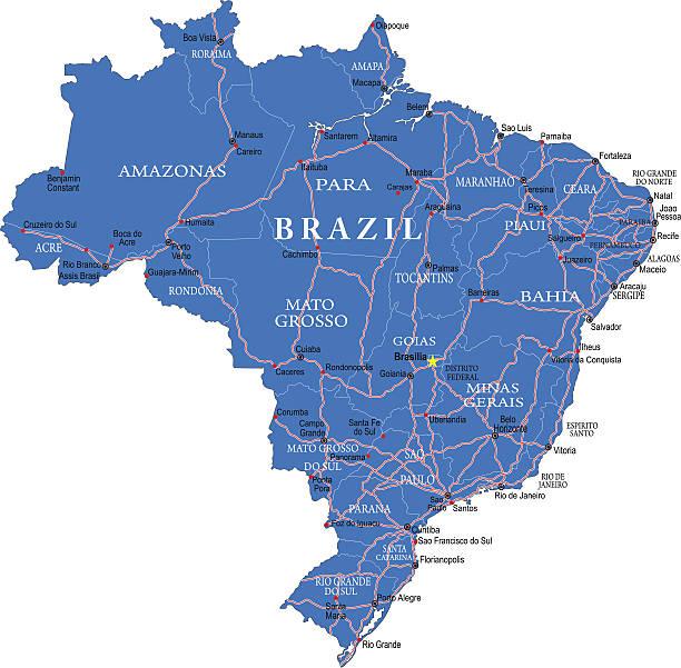 Brazil map Detailed map of Brazil. amazon stock illustrations