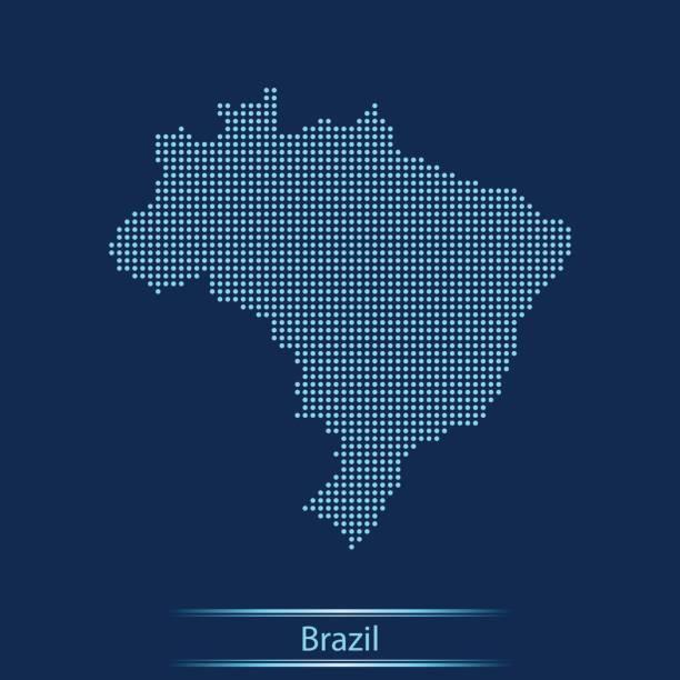 Brazil map – artystyczna grafika wektorowa