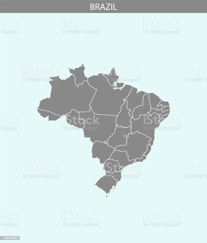 Brazil map vector outline gray and blue backgrounds. Highly detailed accurate Brazilian map illustration. Borders of all states or provinces or counties are included on this map. vector art illustration