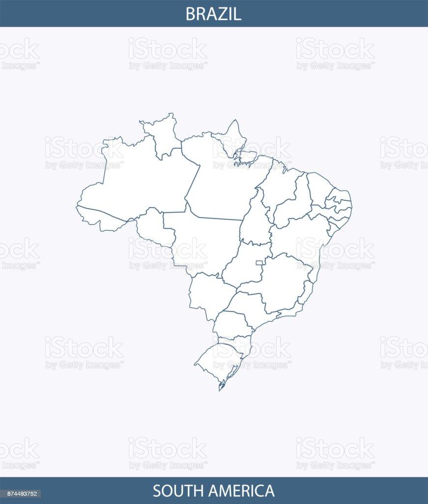 Brasilien Karte Vektor Umriss Illustration Hintergrund Beschriftet
