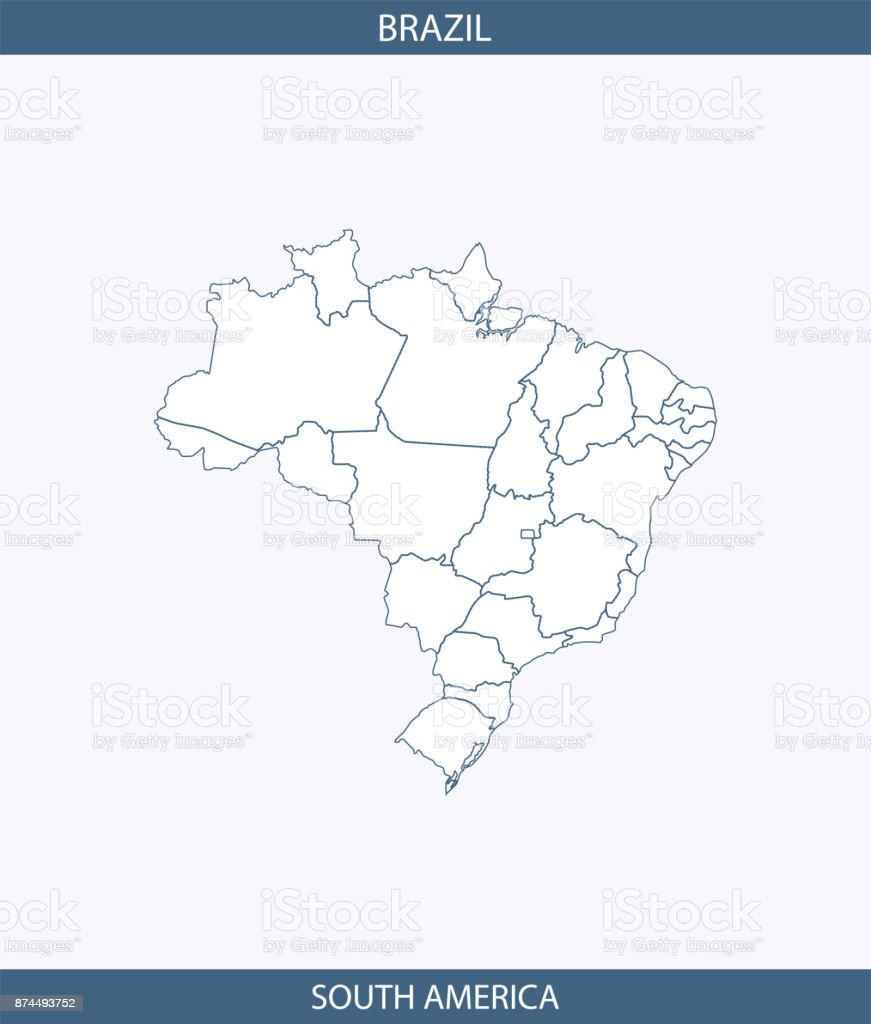Brazil map vector outline illustration background labeled with the name of its continent, South America, and borders of states or provinces. A creative map for educational purposes vector art illustration