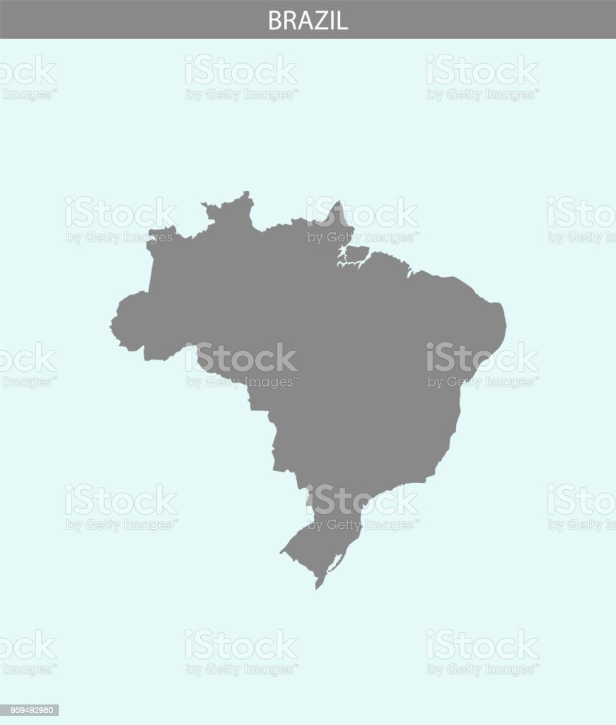 Brazil map vector outline illustration gray and blue background. Highly detailed accurate map of Brazil. The borders of Brazilian provinces or states are not included on this map for aesthetic appeal. vector art illustration