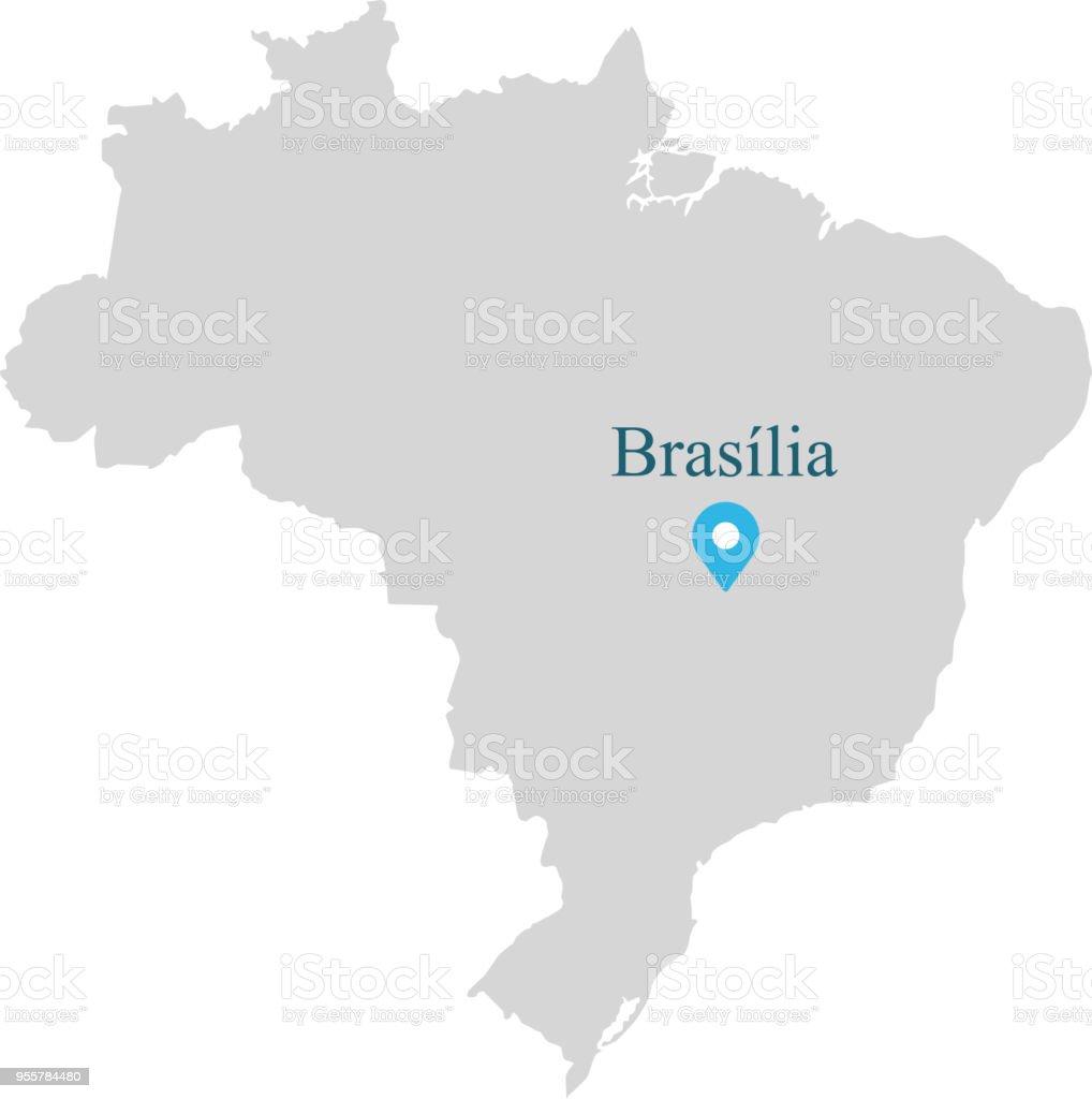Brasilien Karte Umriss Vektorgrafik Mit Provinzen Grenzen Und ...