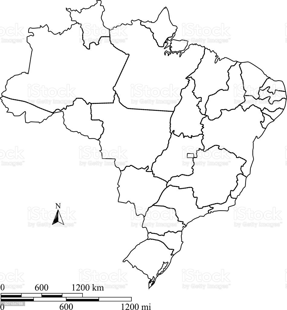 Brazil map vector outline with scales in a blank design vector art illustration