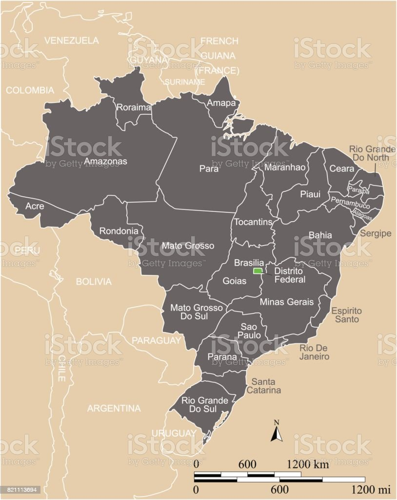 Brazil map vector outline with scales, states or provinces, neighbor countries borders and names vector art illustration
