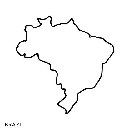 Brazil Outline Map Vector Stock Illustration Design Template. Editable Stroke. Vector eps 10.