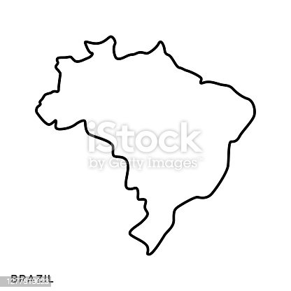 istock Brazil Map Vector Stock Illustration Design Template. Editable Stroke. 1277619623