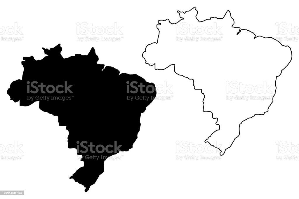 Vetor de mapa do Brasil - ilustração de arte em vetor