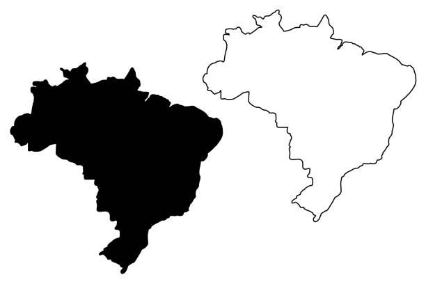 ilustrações, clipart, desenhos animados e ícones de vetor de mapa do brasil - brazil