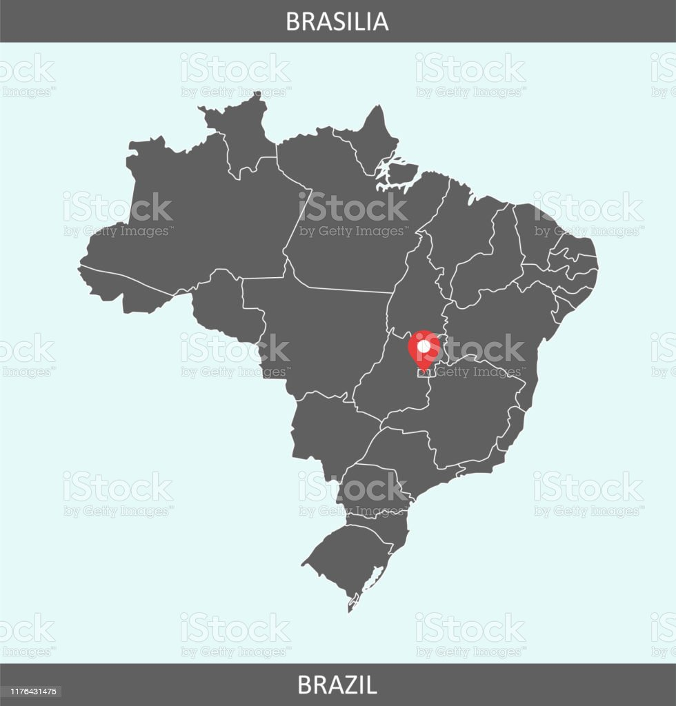 Picture of: Brazil Map Vector With Capital City Location Brasilia For Educational Purposes Stock Illustration Download Image Now Istock
