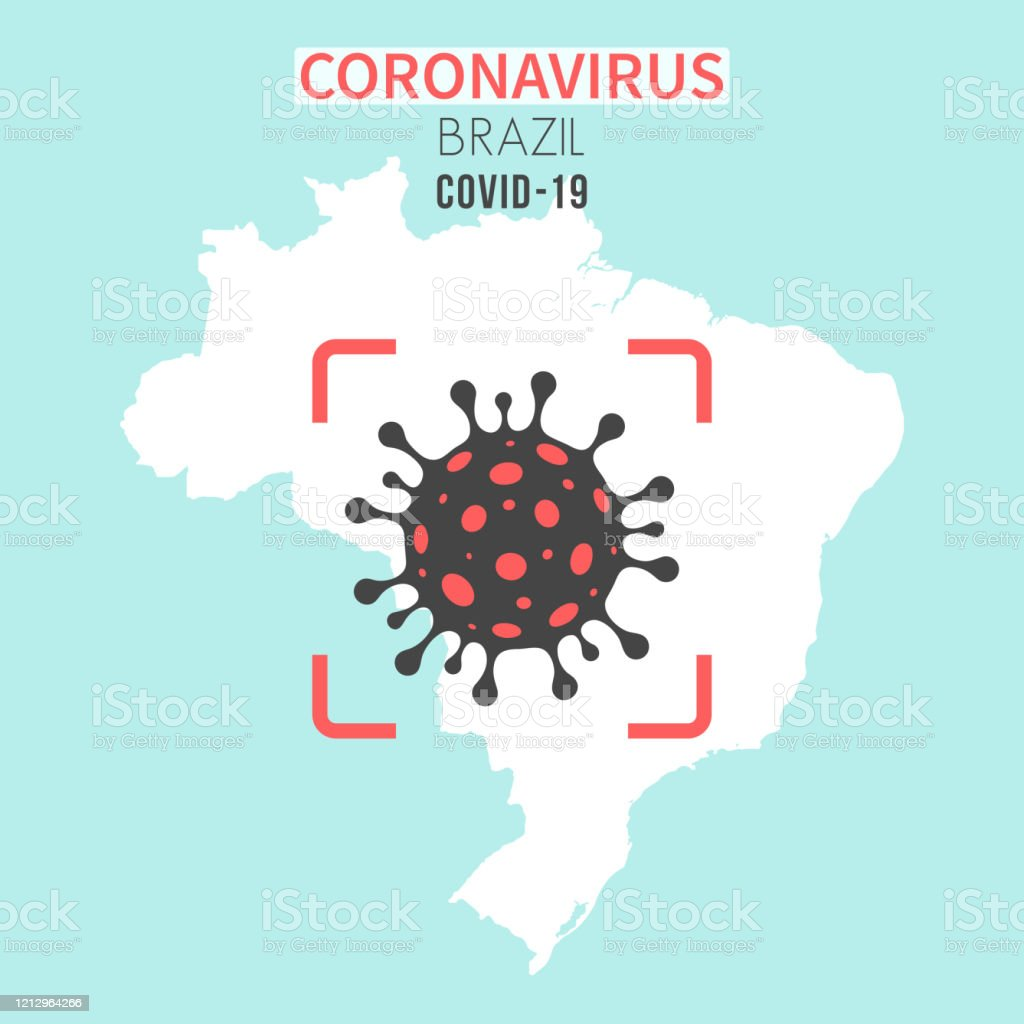 Brazil map with a coronavirus cell (COVID-19) in red viewfinder - Royalty-free 2019 stock vector