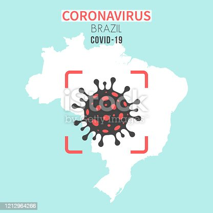 istock Brazil map with a coronavirus cell (COVID-19) in red viewfinder 1212964266