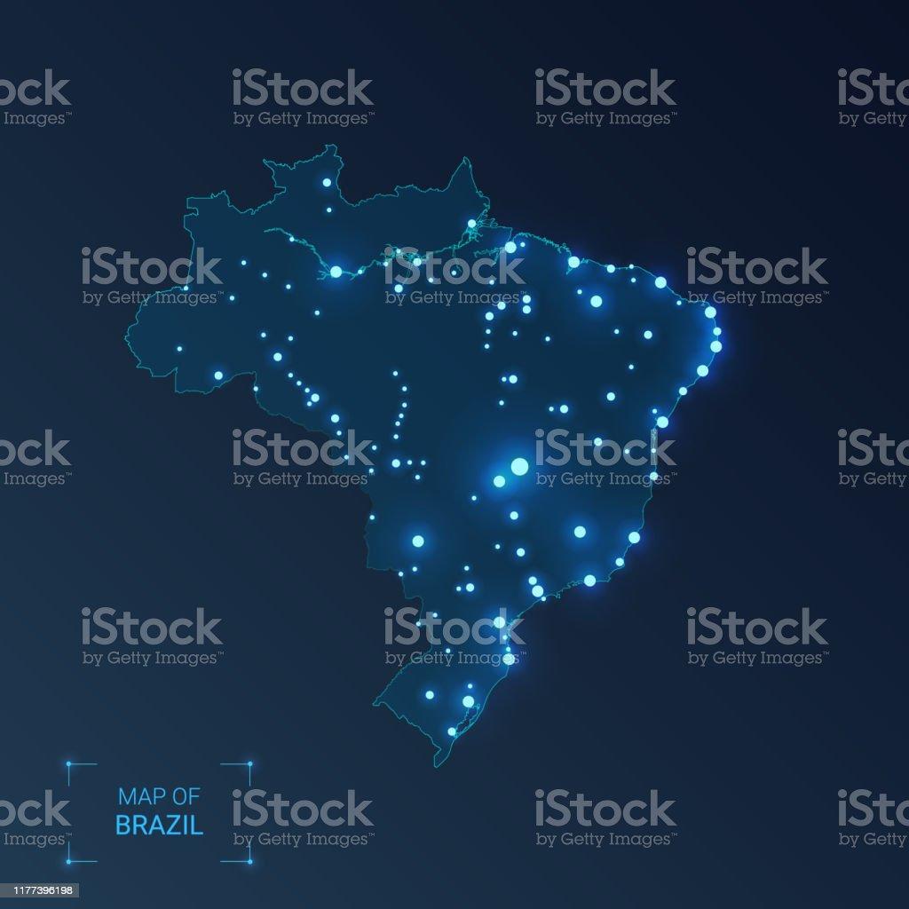 Mapa de Brasil com cidades. Pontos luminosos-luzes de néon no fundo escuro. Ilustração do vetor. - Vetor de Abstrato royalty-free