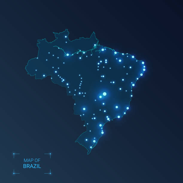 ilustrações, clipart, desenhos animados e ícones de mapa de brasil com cidades. pontos luminosos-luzes de néon no fundo escuro. ilustração do vetor. - brazil map