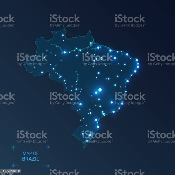 Vetores de Mapa De Brasil Com Cidades Pontos Luminososluzes De Néon No Fundo Escuro Ilustração Do Vetor e mais imagens de Abstrato