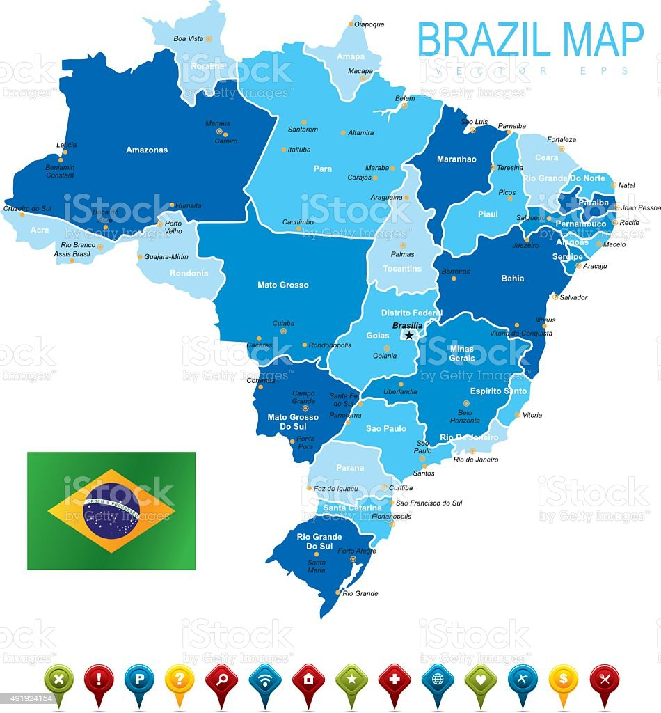 Brazil Map With Flag Stock Vector Art More Images of 2015